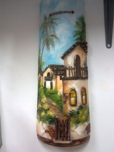 Trabalhos da professora Maria Madalena (pintura em tela) Trabalhos da professora Maria Madalena (pintura em ... Clay Wall Art, Clay Art, Painted Fan Blades, Painted Rocks, Hand Painted, Clay Tiles, Bottle Painting, Tapestry Weaving, Fabric Painting