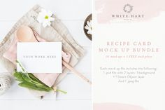BUNDLE - Recipe card mockups x 10+1 by White Hart Design Co. on @creativemarket