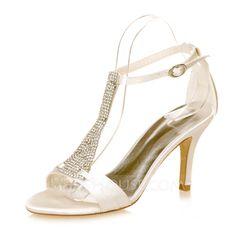 Femmes À bout ouvert Sandales Talon stiletto Satiné Boucle Strass Chaussures de mariage