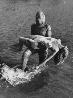 black and white monster movie images | is Carried by Monster, Gill Man, in the Movie, Creature from the Black  Lagoon