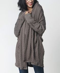 Another great find on #zulily! Charcoal Cable-Knit Open-Drape Cardigan #zulilyfinds