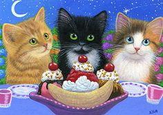 3 kittens cats banana split dessert spring flowers original aceo painting art in Art, Direct from the Artist, Paintings | eBay
