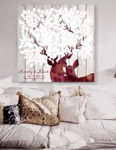 Rustic Wedding guest book with deers Custom Wedding Guestbook Alternative Country Wedding Print Guest Book Winter wedding christmas  by LovaluDesign on Etsy https://www.etsy.com/listing/215274443/rustic-wedding-guest-book-with-deers