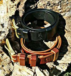 Leather belt. Hand made. Brass buckle. Bacau -Romania