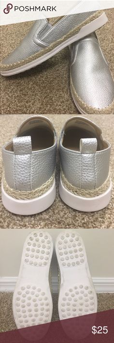 Wanted Womens Metallic Silver Espadrille Flats 8 Like new only worn once. Size 8 but could also fit size 8.5. These shoes are super comfortable just a tad loose on me. Cute slip on sneakers! Tags: vans anthro flats slides sneaker casual comfortable free people loafer espadrilles Steve Madden Sam edelman Zara Zappos ASOS Macy's Nordstrom Wanted Shoes Flats & Loafers