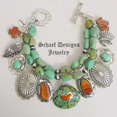 Schaef Designs Campo Frio Turquoise Spiny Oyster 3 strand Native American Charm Bracelet Necklace | Southwestern & turquoise Jewelry | New Mexico
