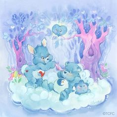 It's Care Bears Swift Heart Rabbit and Bedtime Bear. Cartoon Cartoon, My Little Pony, 80s Characters, Care Bears Vintage, Kawaii, Old Cartoons, Bear Art, Plush Animals, Old Toys