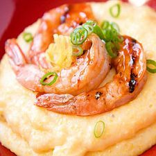 Lemon-Garlic Shrimp and Grits: delicious & ready in 30 minutes! instead of grits, pureed cauliflower Shrimp And Cheesy Grits, Shrimp N Grits, Seafood Recipes, Cooking Recipes, Diabetic Recipes, Shellfish Recipes, Diabetic Foods, Cooking Tips, Potluck Recipes
