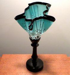 Fused Glass Lamp 167 Asymmetrical Aqua Crackle by EdieMartinGlass