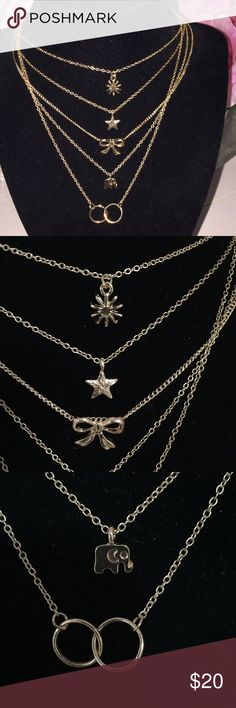 New lot of 5 Good Luck Good Karma necklaces New lot of 5 gold color necklaces. Sun, star, bow, elephant and circle necklaces. Necklaces are 16 inches long with 2 inch extender. Jewelry Necklaces