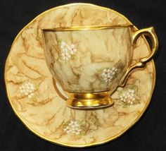 Salisbury England Lacquer Dots Brown Gold Tea Cup and Saucer