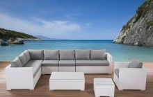 Awesome White Grey Wood Modern Design Garden Furniture Outdoor L Shape Sofa Grey Seat Cushion Armchairs Wood Floor At House With Outdoor Sectional Furniture Plus Outdoor Furniture Cushions