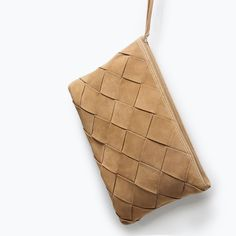 ZARA - SHOES & BAGS - BRAIDED SUEDE ENVELOPE CLUTCH