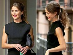 There's something subtly '60s but not at all costumey about Keri Russell's teased pony thanks to the parted layers and volume at the crown.