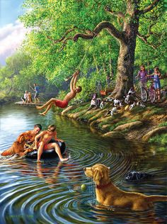 Places Remembered Summer 1000 pc Jigsaw Puzzle by SunsOut Art Village, Indian Art Paintings, Original Paintings, Arte Filipino, Paradise Pictures, Bd Art, Country Art, Wildlife Art, Beautiful Paintings