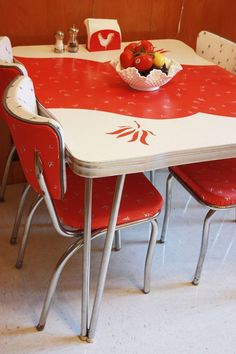 Vintage Red Kitchen Table and Chairs