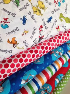 Dr Seuss fabric bundle, Celebrate Seuss fabric, Cat in the Hat fabric, Book fabric, Kids fabric, Cotton fabric by the yard, Quilt fabric by FabricShoppe on Etsy