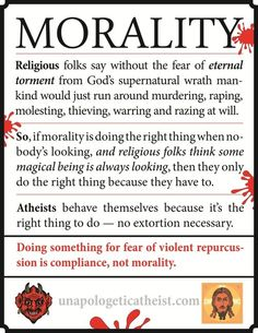 Dong something for fear of violent reprucussion is compliance, not morality.  So if morality is doing the right thing when nobody's looking, and religious folks think some magical being is always looking, then they only do the right thing because they have to.  fear