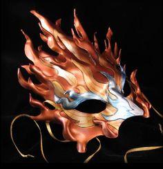 Fire Elemental leather mask by Jennifer Davis of Pilgrimage Design.