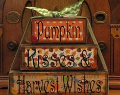 Fall Decor, Fall Sign - Pumpkin Kisses and Harvest Wishes, Word Blocks Sign - Today Pin Halloween Words, Fall Halloween, Halloween Crafts, Halloween Blocks, Halloween Signs, Halloween Stuff, Autumn Crafts, Thanksgiving Crafts, Holiday Crafts