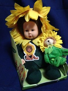 Anne Geddes 1999 Sunflower Stuffed Plush Doll & Sunflower Wee Bear #AnneGeddes #Dolls