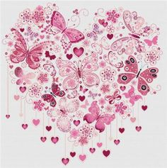 Cross Stitch Craze: Butterfly and Hearts Dusty Rose