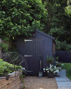Garden Buildings, Garden Structures, Garden Paths, Outdoor Spaces, Outdoor Living, Outdoor Decor, Black Shed, Backyard Sheds, Garden Sheds