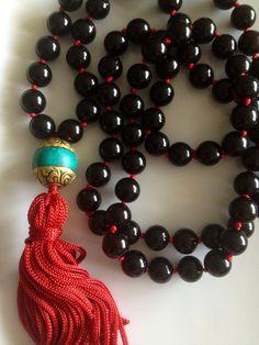 Black Onyx Fringe Tassel Necklace
