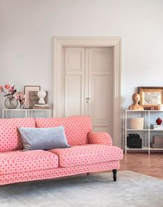 Classic Linara - a linen-cotton blend with a super soft, peach skin finish and antique, washed look - are now yours to discover | IKEA Stocksund with a Bemz x Romo cover in Peach Skin Pomela fabric | Sophisticated pink living room