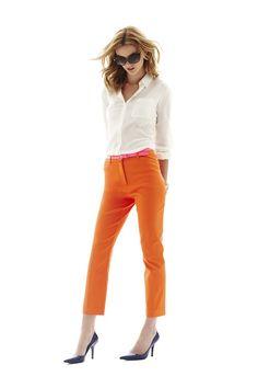 worthington silk blouse and orange ankle pants - @Nina Garcia's must haves