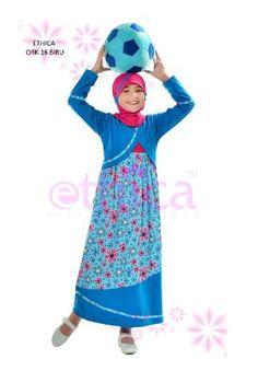 Baju Gamis Anak Ethica ORK 16 Biru Dress Anak, Clothing Size Chart, Girls Party Dress, Mode Hijab, Muslim, Kids Fashion, Disney Princess, Children Dress, Fashion Quotes