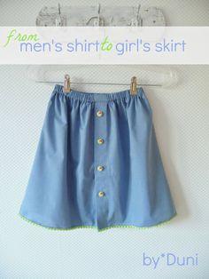Duni's Studio: From Men's Shirt to Girl's Skirt - DIY in Three Easy Steps