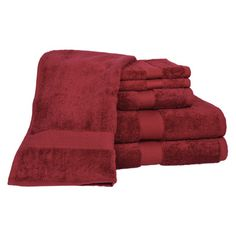 Calcot Ltd. All American Cotton Line 100% Supima Cotton 6 Piece Towel Set Color: Pomegranate