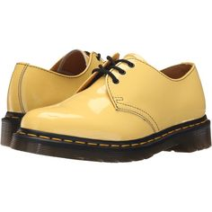 Dr. Martens 1461 3-Eye Gibson (Acid Yellow Patent Lamper) Women's Lace... ($70) ❤ liked on Polyvore featuring shoes, yellow, dr martens shoes, yellow patent leather shoes, lace up shoes, small heel shoes and low heel shoes