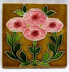 VINTAGE TILE ENGLAND PINK FLOWER DESIGN ARCHITECTURAL ANTIQUE  CERAMIC TILE OLD #ENGLAND