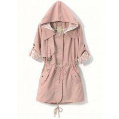Pink Hooded Polka Dot Drawstring Outerwear
