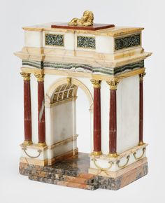 An Italian Neoclassical Grand Tour ormolu-mounted specimen marble model of a triumphal arch, in the manner of the Valadier workshop Rome, late 18th century