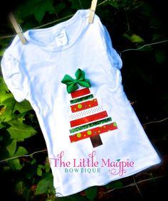 Ribbon Tree Top- Christmas shirt...baby christmas...baby girl christmas...christmas onesie on Etsy, $13.50