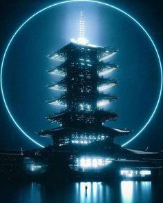 All things pastel i All things pastel iridescent kawaii vaporwave harajuko fairy kei Cyberpunk Aesthetic, Cyberpunk City, Arte Cyberpunk, Futuristic City, Futuristic Architecture, Pen & Paper, Environment Concept Art, Shadowrun, Fantasy Landscape