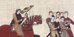 Bayeux, France - The Bayeux Tapestry - Bayeux museum. This tapestry relates the conquest of England by William the Conqueror from 1064 to the outcome of the Battle of Hastings.