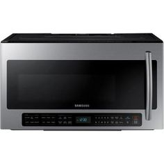 Samsung 30 in. 2.1 cu. ft. Over the Range Microwave in Stainless Steel with Sensor Cooking and Ceramic Enamel Interior-ME21H706MQS at The Home Depot