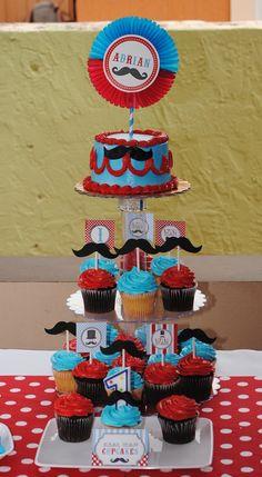 Cake and cupcakes at a Mustache Party #mustache #party