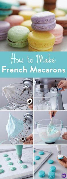 Macaron Cookies How to Make French Macaroons . Learn how to make French Macaroon cookies with our…How to Make French Macaroons . Learn how to make French Macaroon cookies with our… Baking Recipes, Cookie Recipes, Dessert Recipes, Bake Sale Recipes, Yummy Treats, Sweet Treats, Yummy Food, Sweet Cookies, French Cookies