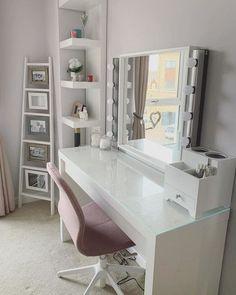 MALM Dressing table - white stained oak veneer - IKEA - Lilly is Love Ikea Malm Dressing Table, Dressing Room Decor, White Dressing Tables, Dressing Table Design, Bedroom Dressing Tables, Dressing Table Inspiration, Makeup Dressing Table, Dressing Table Mirror, Room Ideas Bedroom