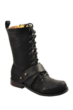 """Marla Lace-Up Tall Boot in black tumbled by Gee Wawa $299 - ($93) $89 @HauteLook. - Round toe - Lace-up vamp with ankle strap - Zip side closure - Pull back tab - Approx. 8"""" shaft height, 8.5"""" opening circumference - Approx. 1"""" heel Available in: Black (tumbled goat skin, leather sole), White Kenya and Chocolate Kenya (lambskin upper, leather sole)"""