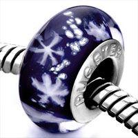 Pugster Blue With White Snowflakes Style Pandora Murano Glass European Beads