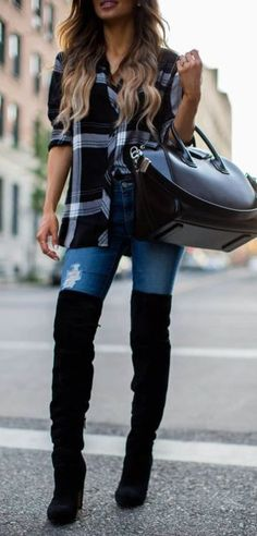 what to wear with over the knee boots   plaid shirt + bag + jeans Women s 91642d733