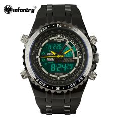 Luxury Brand INFANTRY Mens Watches LCD Reloj Digital New Casual Quartz Watch Military Police Chronograph Watch