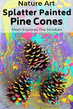 Craft: Splatter Painting This fun pine cone nature craft project is sure to be a big hit with the kids.This fun pine cone nature craft project is sure to be a big hit with the kids. Toddler Crafts, Preschool Crafts, Pine Cone Art, Painting Pine Cones, Pine Cone Wreath, Art Et Nature, Nature Activities, Summer Activities, Paint Splatter