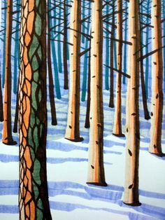 Prints and drawings by Brighton artist Peta Taylor. Peta, A3, Brighton, Giclee Print, December, Trees, Drawings, Artist, Prints